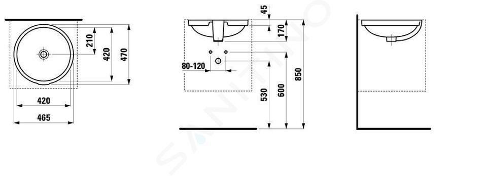 Laufen Pro - Umyvadlo, 420x420 mm, bez otvoru pro baterii, s LCC, bílá H8189614001091