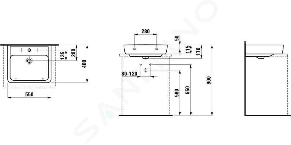 Laufen Pro - Umyvadlo, 550x480 mm, 1 otvor pro baterii, s LCC, bílá H8179514001041