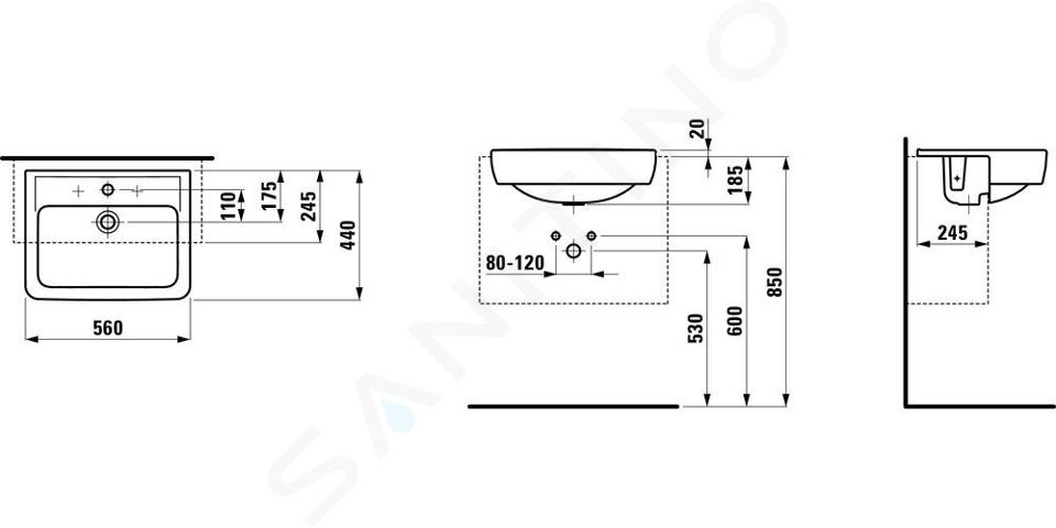 Laufen Pro - Umyvadlo polozápustné, 560x440 mm, 1 otvor pro baterii, bílá H8129610001041
