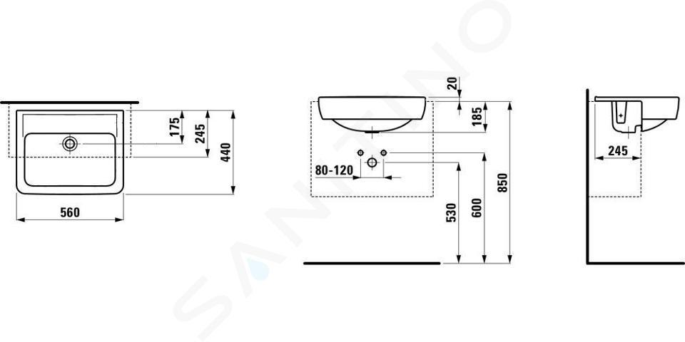 Laufen Pro - Umyvadlo polozápustné, 560x440 mm, bez otvoru pro baterii, bílá H8129610001091