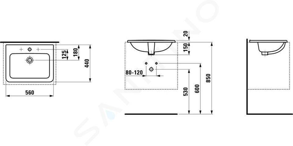 Laufen Pro - Zápustné umyvadlo, 560x440 mm, 1 otvor pro baterii, bílá H8139610001041