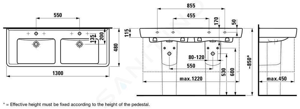 Laufen Pro - Dvojumyvadlo, 1300x480 mm, 2 otvory pro baterie, bílá H8149670001041
