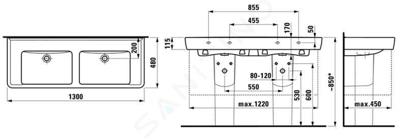 Laufen Pro - Dvojumyvadlo, 1300x480 mm, bez otvoru pro baterii, s LCC, bílá H8149674001091
