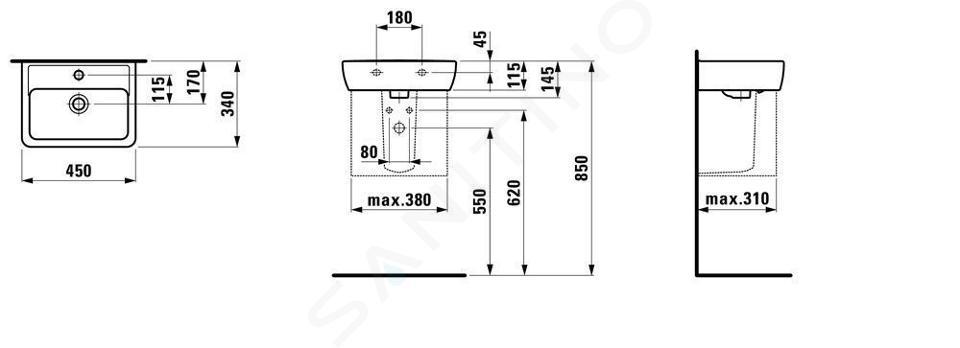Laufen Pro - Umývátko, 450x340 mm, bez otvoru pro baterii, bílá H8119510001091