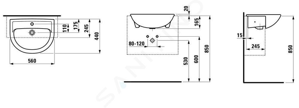 Laufen Pro - Umyvadlo polozápustné, 560x440 mm, 1 otvor pro baterii, bílá H8129510001041