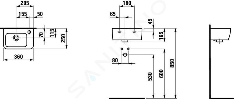 Laufen Pro - Umývátko, 360x250 mm, 1 otvor pro baterii vpravo, s LCC, bílá H8169554001061