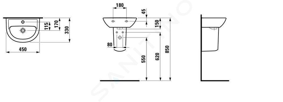 Laufen Pro - Umývátko, 450x330 mm, 1 otvor pro baterii, bez přepadu, bílá H8159520001561