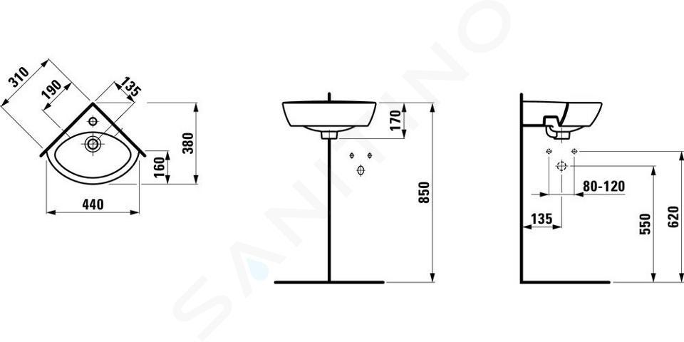 Laufen Pro - Rohové umývátko, 440x380 mm, 1 otvor pro baterii, s LCC, bílá H8169584001041