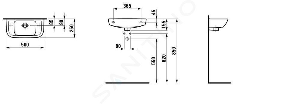 Laufen Pro - Umývátko, 500x250 mm, 1 otvor pro baterii vpravo, s LCC, bílá H8169574001061