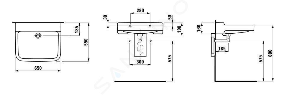 Laufen Pro Liberty - Umyvadlo, 650x550 mm, bez otvoru pro baterii, bílá H8119530001091
