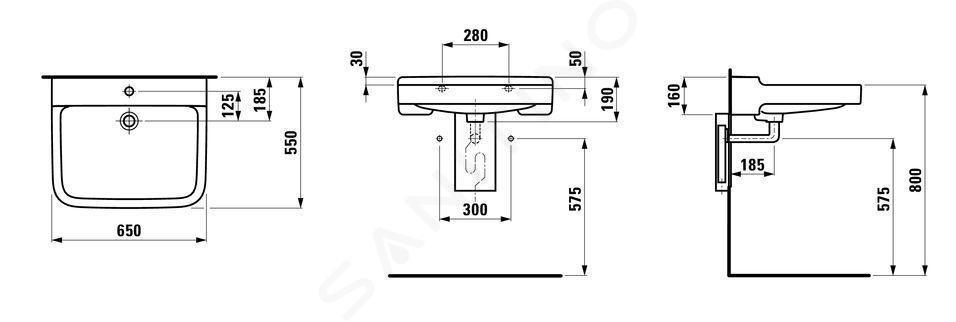 Laufen Pro Liberty - Umyvadlo, 650x550 mm, 1 otvor pro baterii, bez přepadu, bílá H8119530001561