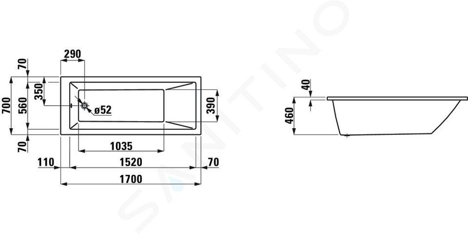 Laufen Pro - Vana, 1700x700 mm, bílá H2309500000001