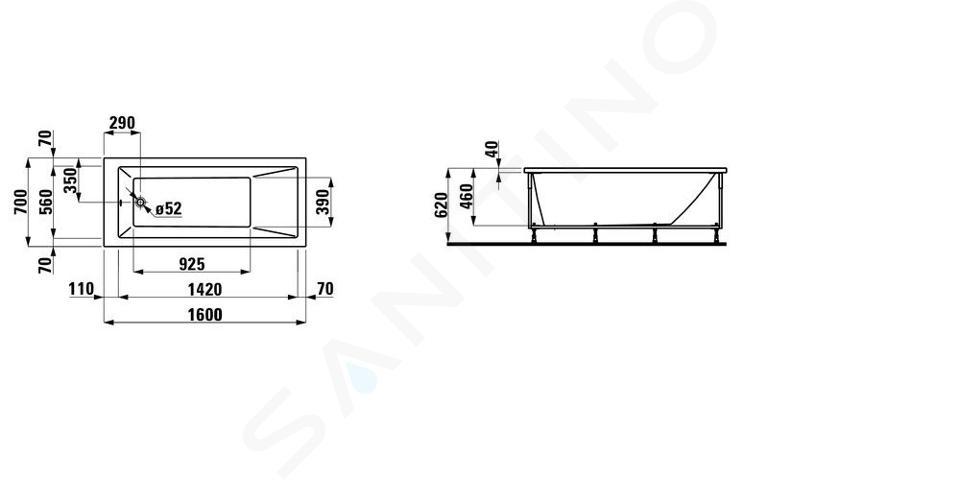 Laufen Pro - Vana s konstrukcí 1600x700 mm, bílá H2339510000001