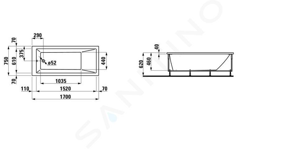 Laufen Pro - Vana s konstrukcí, 1700x750 mm, bílá H2319510000001