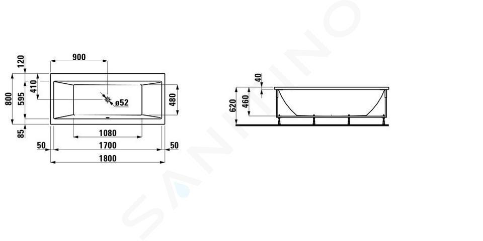Laufen Pro - Vana s konstrukcí a čelním panelem levým, 1800x800 mm, bílá H2329550000001