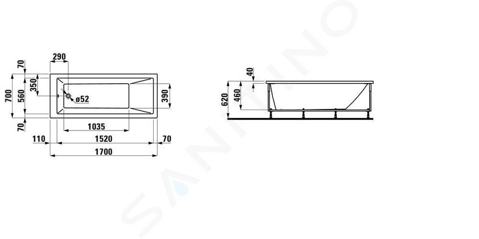 Laufen Pro - Vana s konstrukcí a čelním panelem pravým, 1700x700 mm, bílá H2309560000001