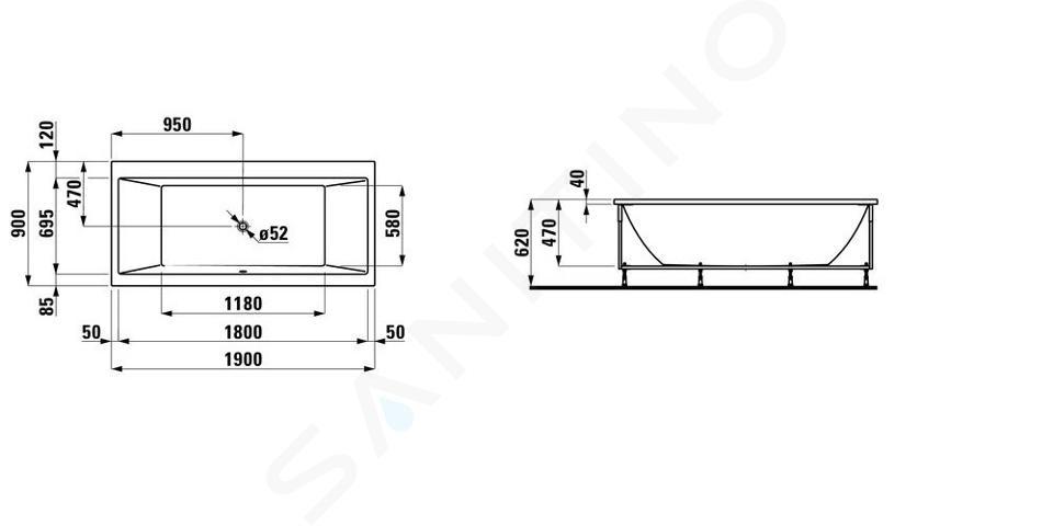 Laufen Pro - Vana s konstrukcí a čelním panelem pravým, 1900x900 mm, bílá H2349560000001