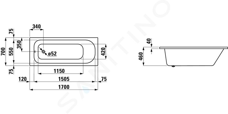 Laufen Solutions - Vana, 1700x700 mm, bílá H2225000000001