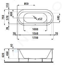 Laufen Solutions - Vana s konstrukcí, 1700x750 mm, bílá H2225110000001