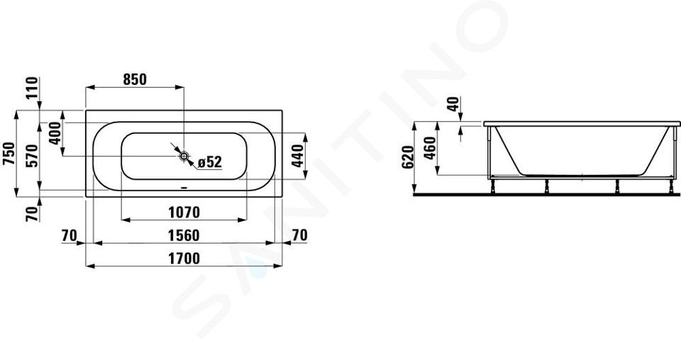 Laufen Solutions - Vana s konstrukcí, 1700x750 mm, bílá H2235310000001