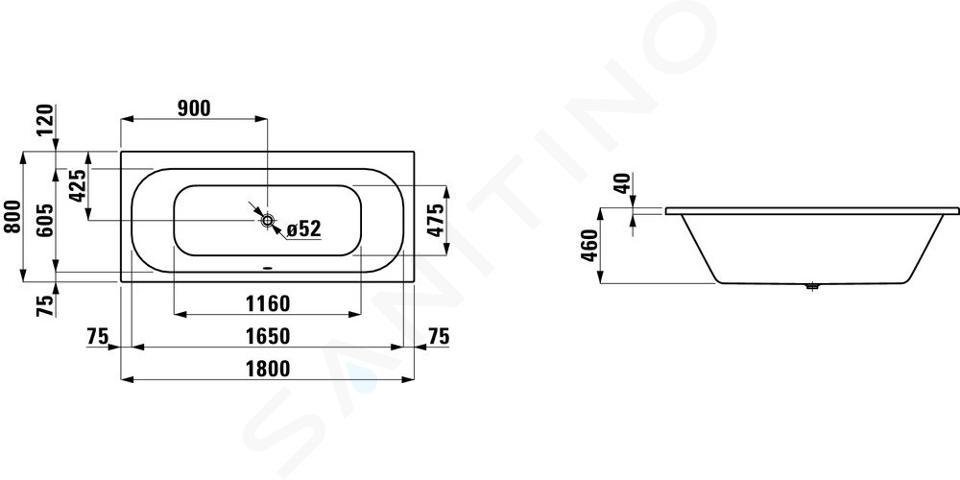 Laufen Solutions - Vana, 1800x800 mm, bílá H2245000000001
