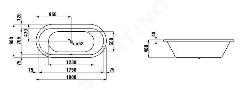 Laufen Solutions - Vana, 1900x900 mm, bílá H2255100000001