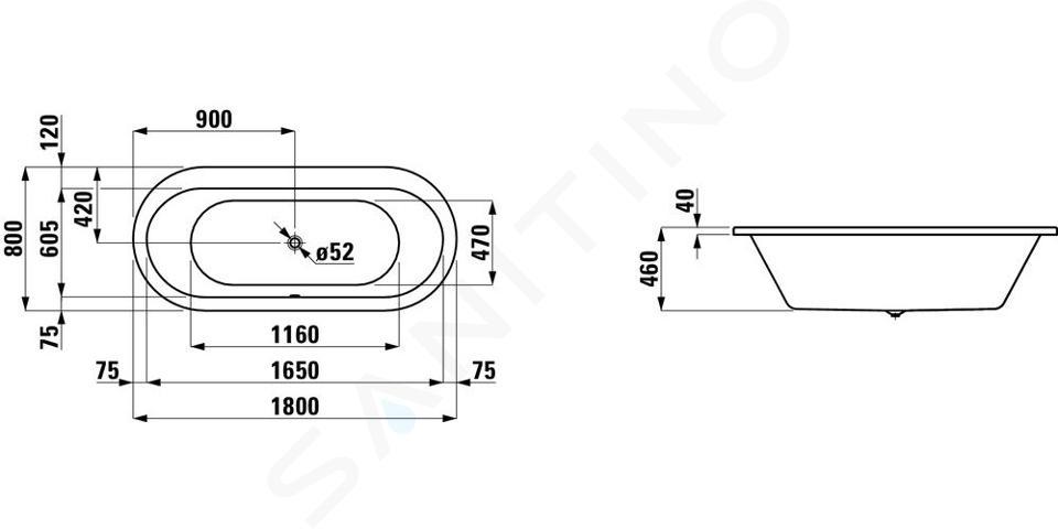 Laufen Solutions - Vana, 1800x800 mm, bílá H2245100000001