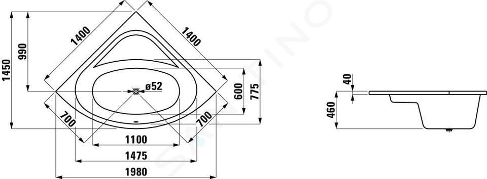 Laufen Solutions - Vana, 1400x1400 mm, bílá H2425000000001