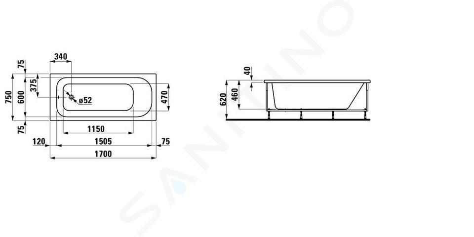Laufen Solutions - Vana s konstrukcí a L-panelem levým, 1700x750 mm, bílá H2235050000001