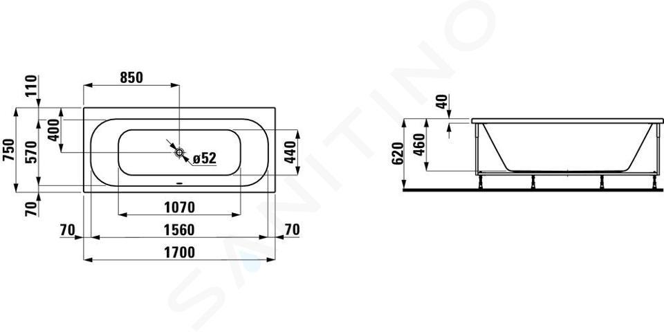 Laufen Solutions - Vana s konstrukcí a L-panelem levým, 1700x750 mm, bílá H2235350000001