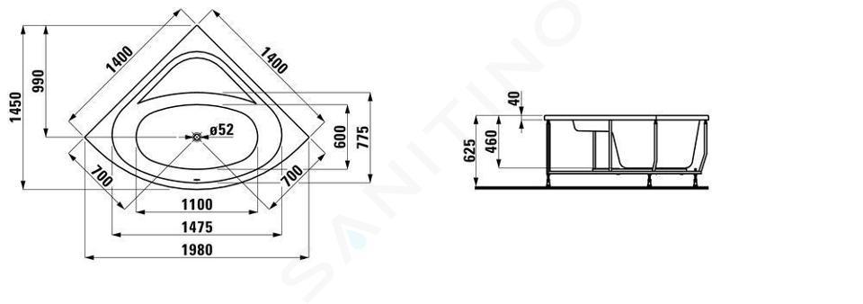 Laufen Solutions - Vana s konstrukcí, 1400x1400 mm, bílá H2425010000001