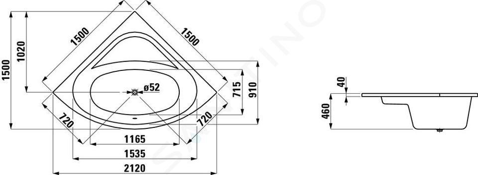 Laufen Solutions - Vana, 1500x1500 mm, bílá H2445000000001