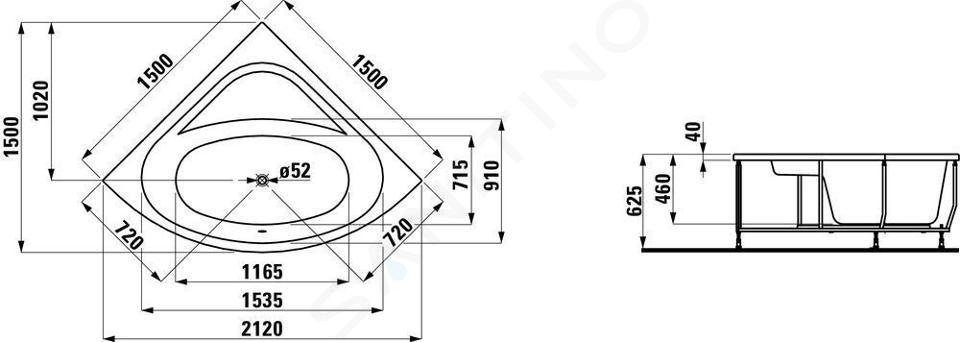 Laufen Solutions - Vana s konstrukcí a čelním panelem, 1500x1500 mm, bílá H2445070000001