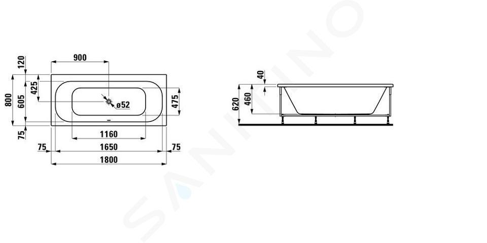 Laufen Solutions - Vana s konstrukcí a L-panelem levým, 1800x800 mm, bílá H2245050000001