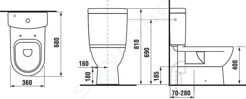 Jika Mio - WC nádržka kombi, boční napouštění, Jika Perla, bílá H8277121002411