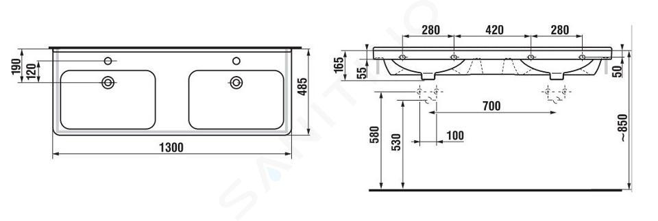 Jika Cubito - Dvojumyvadlo 1300x485 mm, se 2 otvory pro baterie, Jika Perla, bílá H8144201001041
