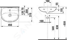 Jika Lyra plus - Umývátko s přepadem 450x370 mm, otvor pro baterii, bílá H8153820001041