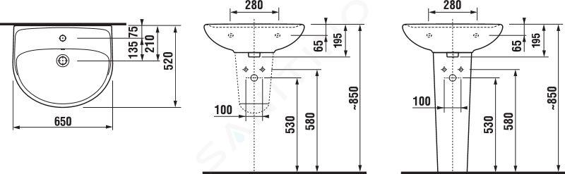 Jika Lyra plus - Umyvadlo s přepadem 650x520 mm, otvor pro baterii, bílá H8143840001041