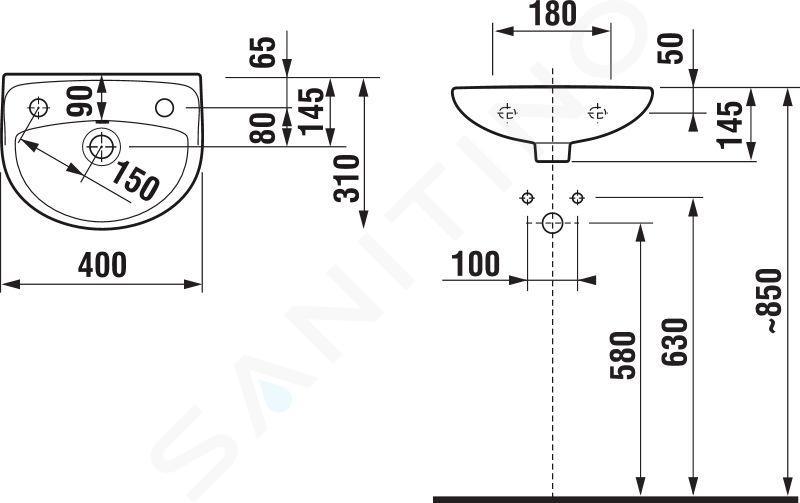 Jika Lyra plus - Umývátko s přepadem 400x310 mm, otvor vlevo, bílá H8153810001051