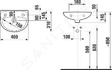 Jika Lyra plus - Umývátko s přepadem 400x310 mm, s 1 otvorem pro baterii vpravo, bílá H8153810001061