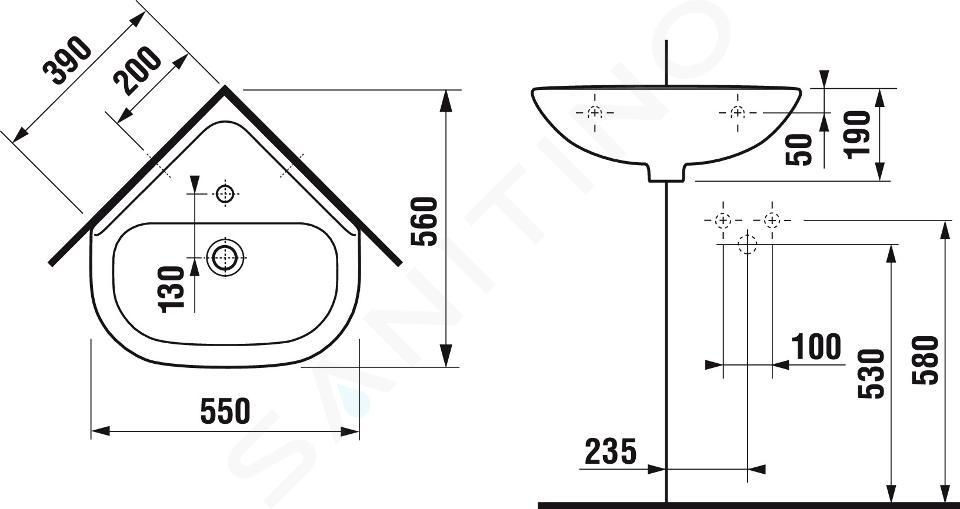 Jika Deep - Umyvadlo, 550x560 mm, 1 otvor pro baterii, bílá H8166140001041
