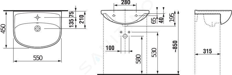 Jika Lyra plus - Umyvadlo s přepadem 550x450 mm, otvor pro baterii, bílá H8133820001041