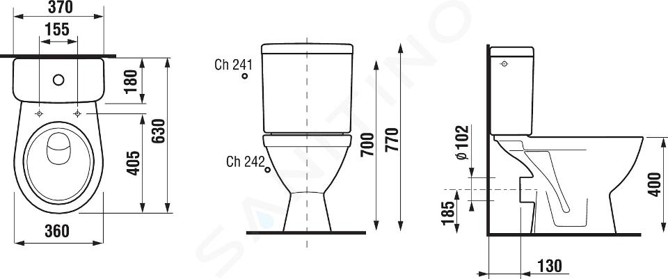 Jika Lyra plus - WC kombi, zadní odpad, boční napouštění, bílá H8263860002413