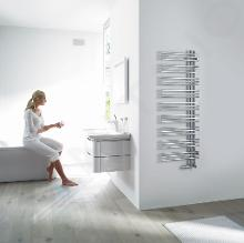Zehnder Yucca Asym - Koupelnový radiátor 1304 x 478 mm, rovný, jednořadý, chrom YAC-130-050