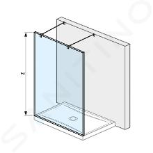 Jika Pure - Sklenená stena pevná 130cm na sprchovú vaničku 130cmx80cm a 130cmx90cm, s úpravou Jika Perla Glass, vrátane dvoch vzpier, 1300mmx200mmx2000mm H2674210026681