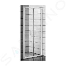 Jika Lyra plus - Sprchové dvere dvojkrídlové 900 Ľ/P, sklo dekor stripy, biela H2563820006651