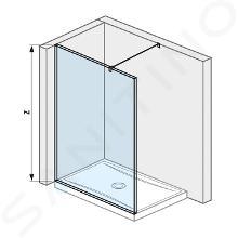 Jika Pure - Sklenená stena bočná 120 cm na sprchovú vaničku 120cmx80cm a 120cm x90 cm, s úpravou Jika Perla Glass, 1200mmx200mmx2000mm H2674230026681