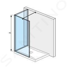 Jika Pure - Sklenená stena L 120 cmx90 cm na sprchovú vaničku 120 cmx90 cm, s úpravou Jika Perla Glass, 1200mmx200mmx2000mm H2694220026681
