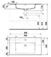 Jika Cube - Skrinka s umývadlom, 790x422x607 mm, biela H4537621763001