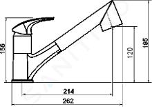 Novaservis Metalia 57 - Miscelatore da lavello con doccetta estraibile e deviatore, granito-nero 57081,GRB